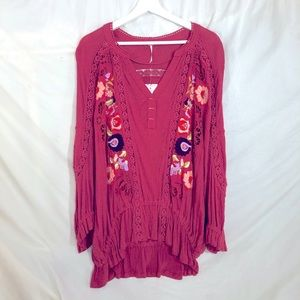 FREE PEOPLE NWT Serafina Embroidered Crochet Top M
